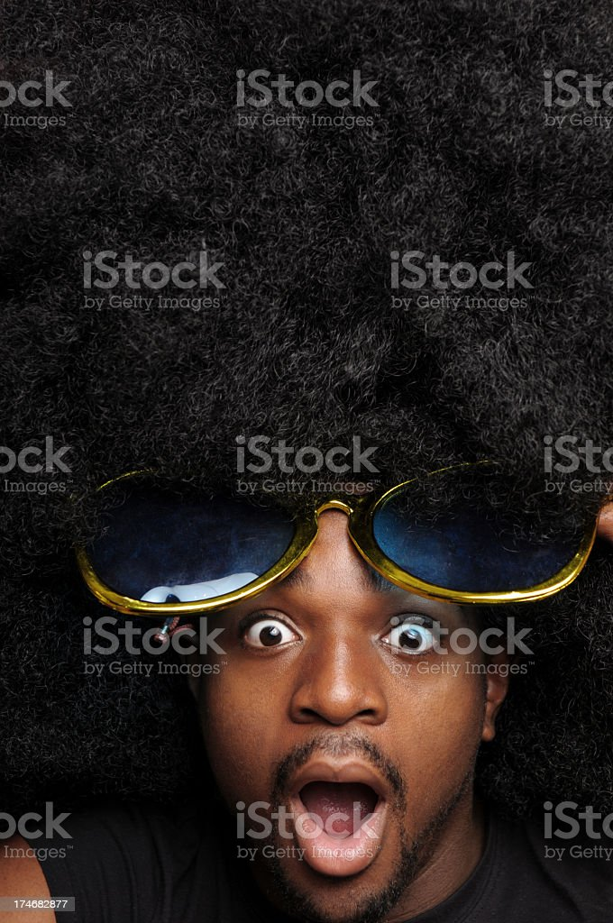 Surprised Afro Man with Sunglasses royalty-free stock photo