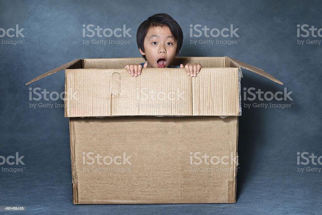 Surprised Asian boy inside cardboard box stock photo