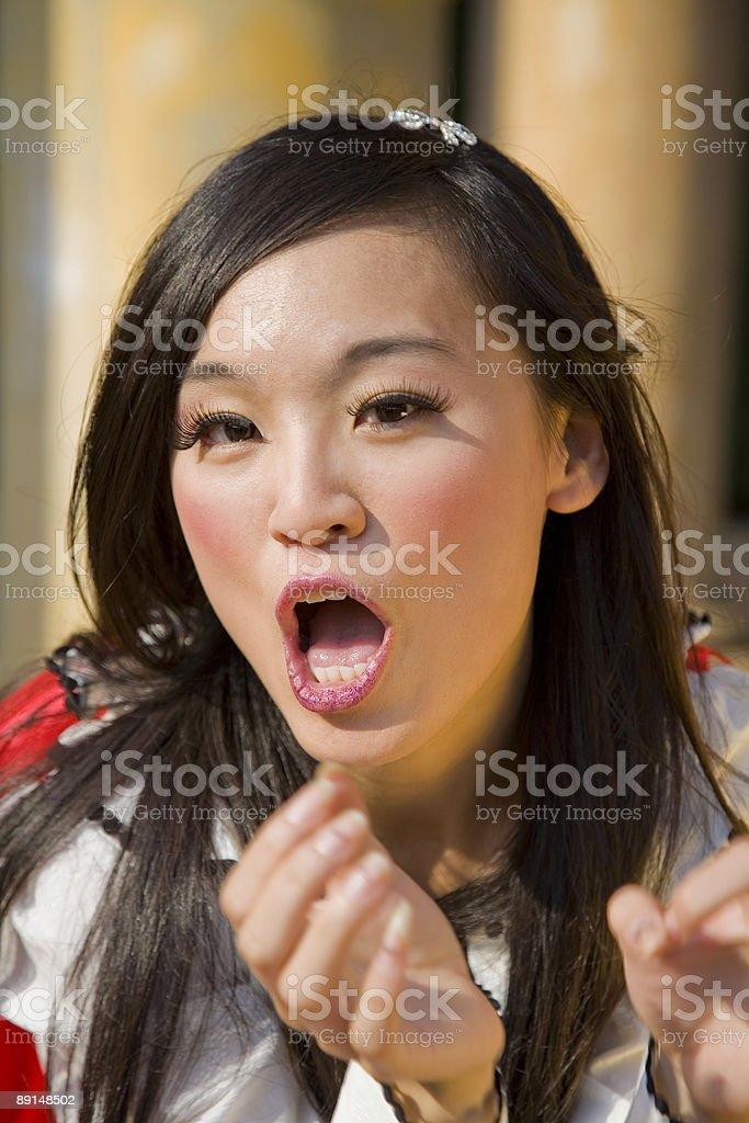 Surprised asian woman. stock photo