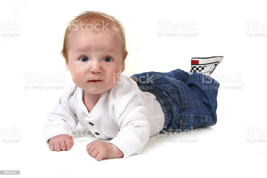 Surprised Baby Boy on His Tummy  royalty-free stock photo