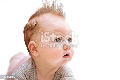 istock Surprised baby on white 497312752