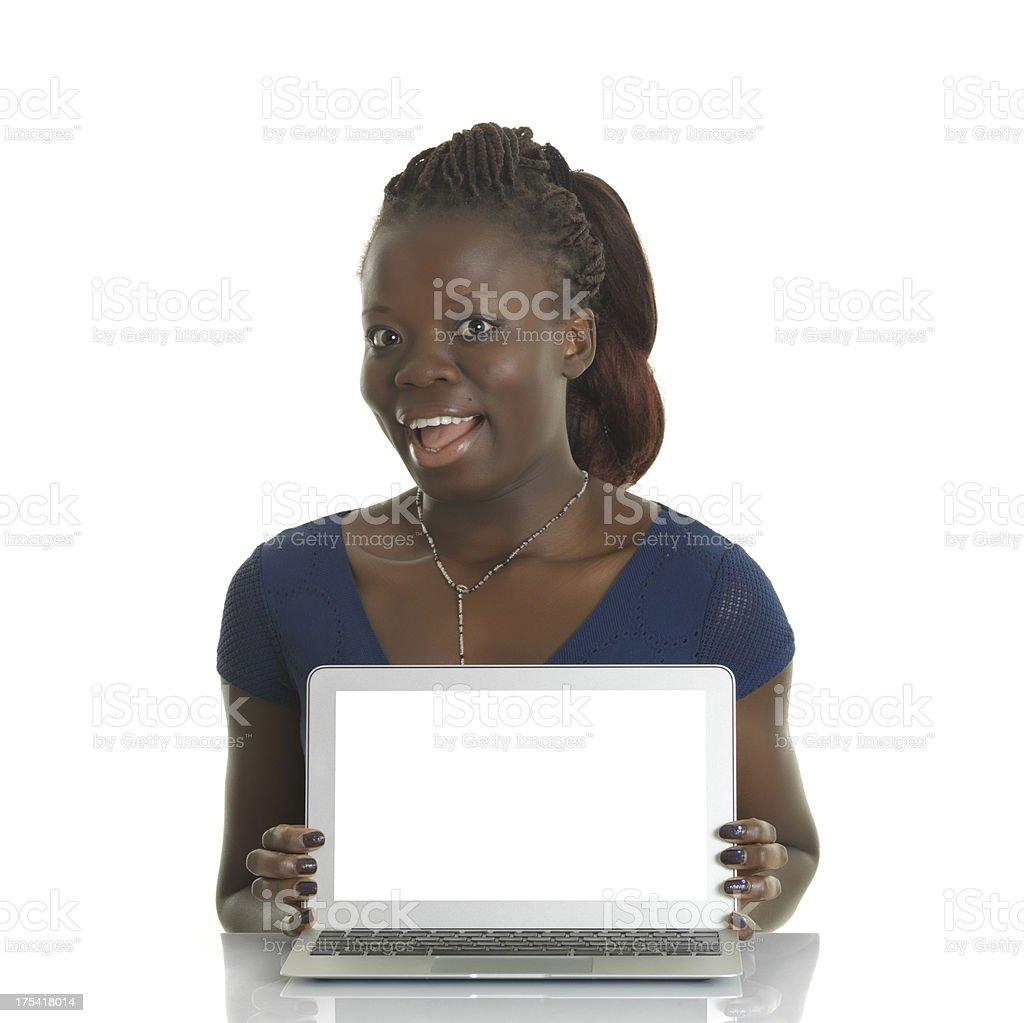 Surprised black woman stock photo