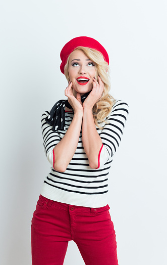 Surprised Blonde French Woman Wearing Red Beret Stock Photo - Download Image Now