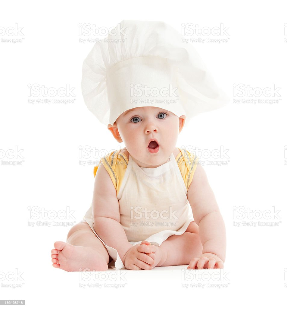 Surprised boy with cook hat isolated stock photo