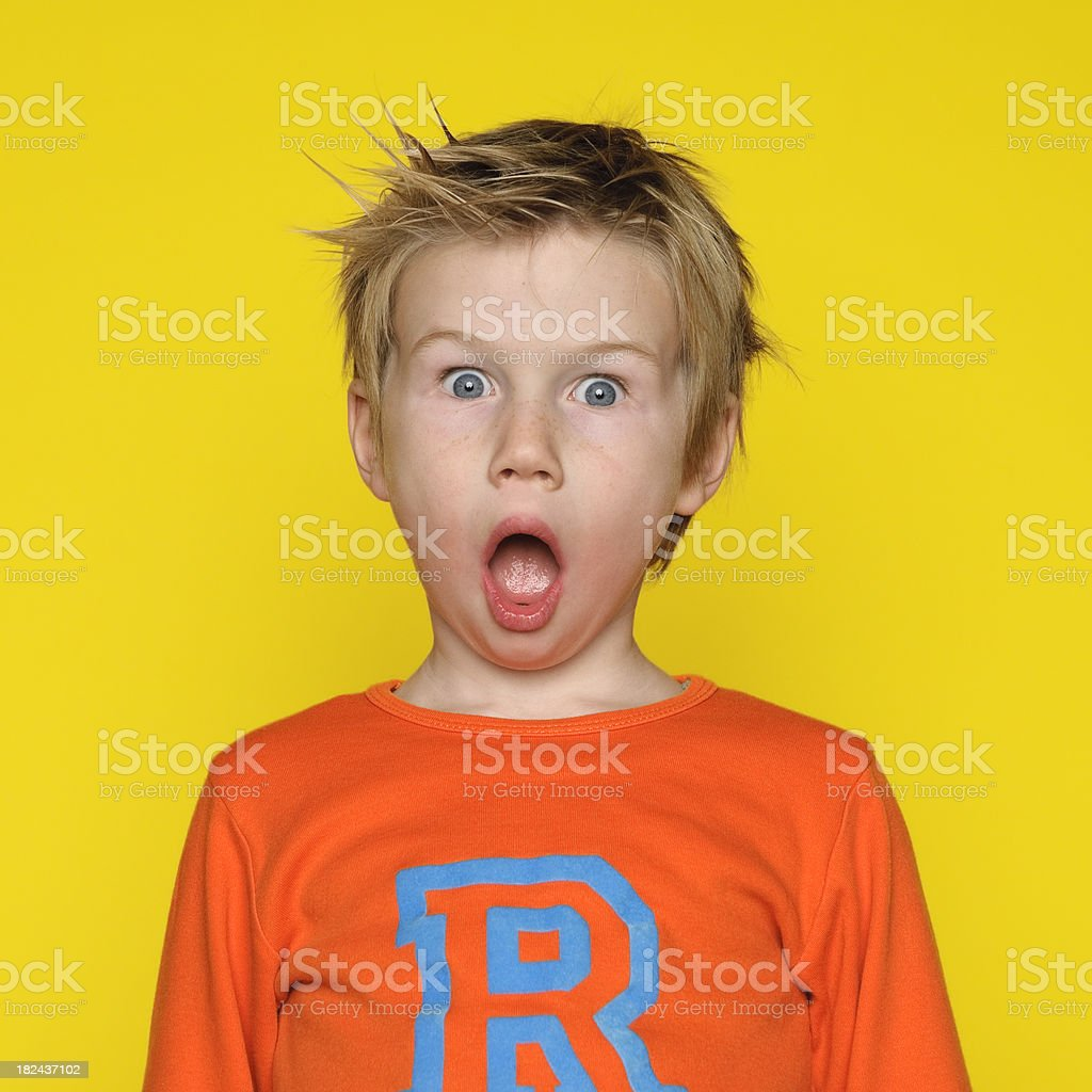 Surprised boy with his mouth open royalty-free stock photo
