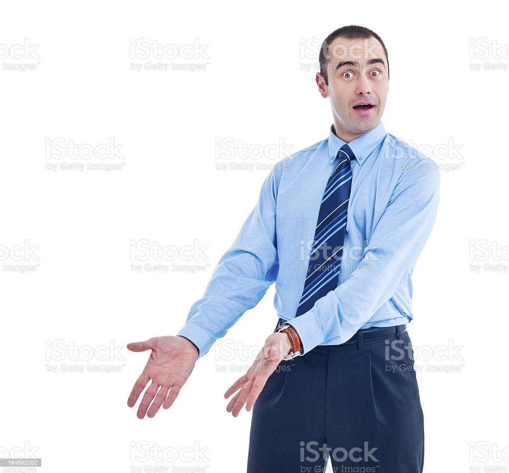 Surprised Businessman gesturing royalty-free stock photo