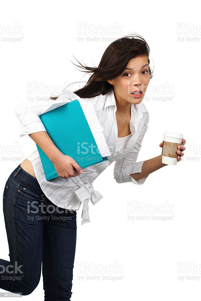Surprised businesswoman with Coffee stock photo