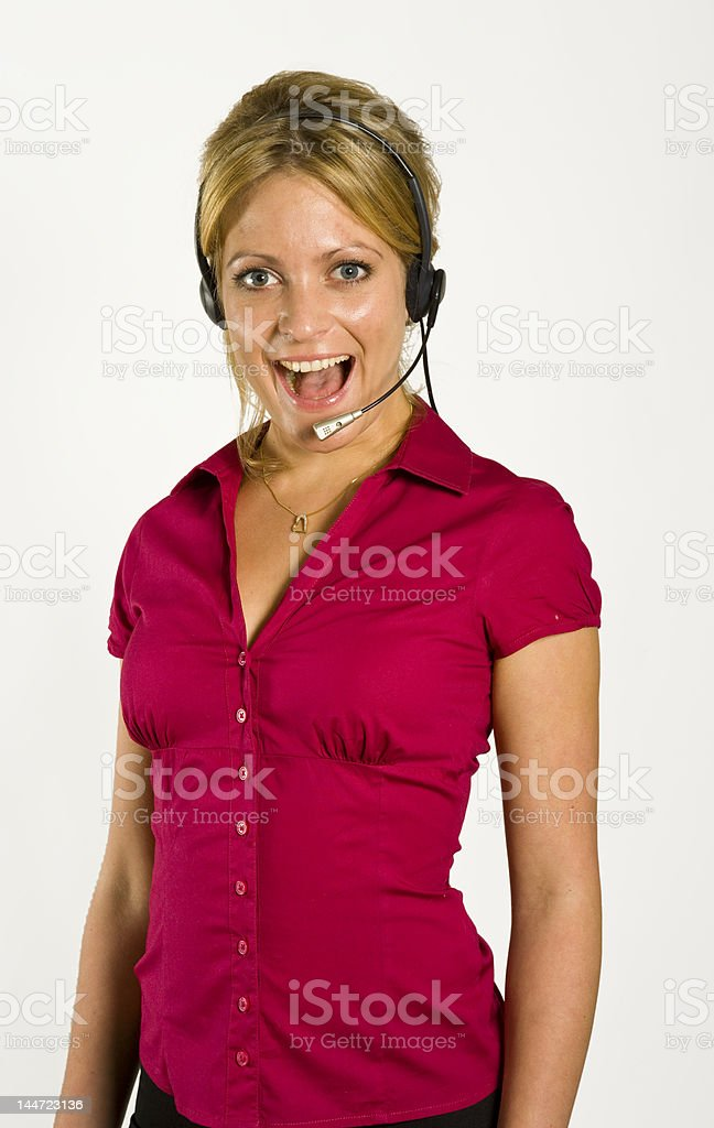 Surprised Call center girl royalty-free stock photo