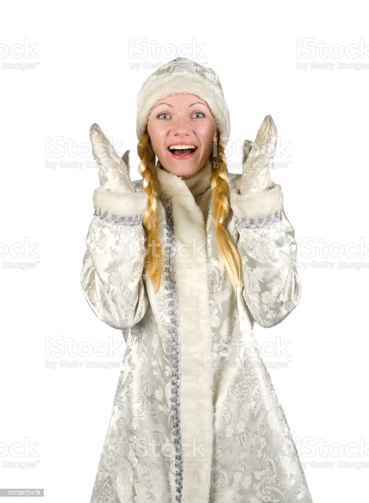 Surprised cheerful snow maiden on a white background. stock photo