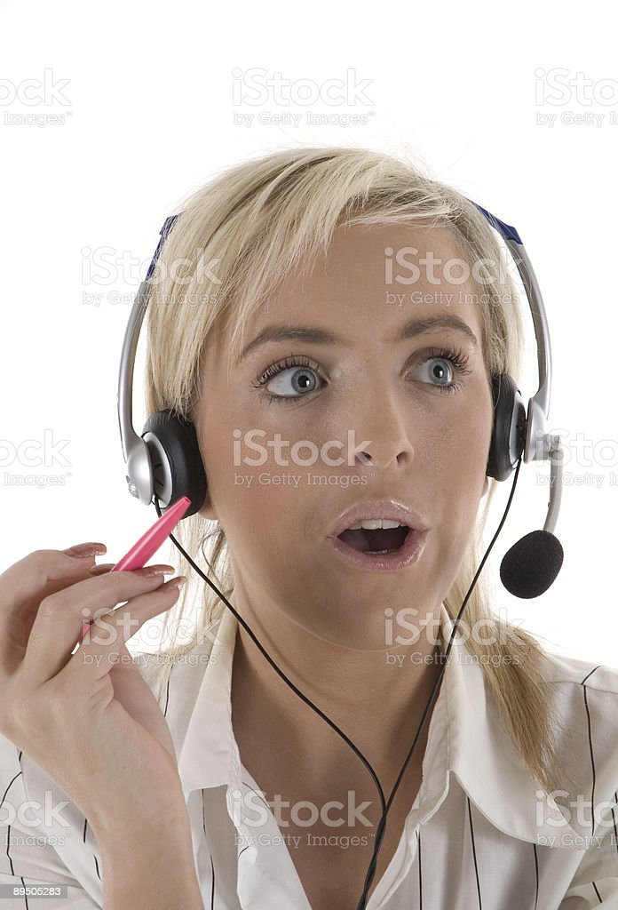 Surprised Customer Services Operator royalty-free stock photo