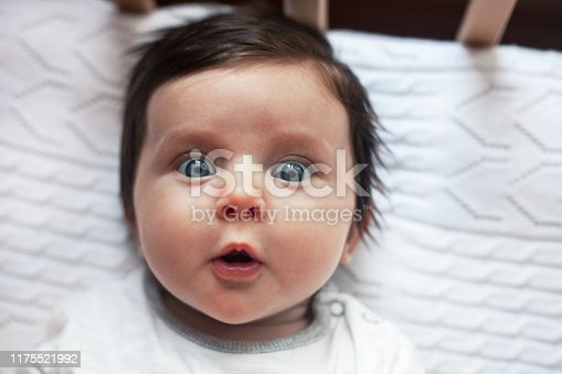 Surprised funny cute baby with blues eyes close portrait, lying in bed
