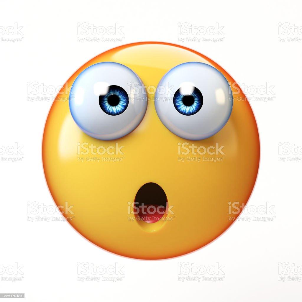 Surprised emoji isolated on white background, shocked emoticon stock photo