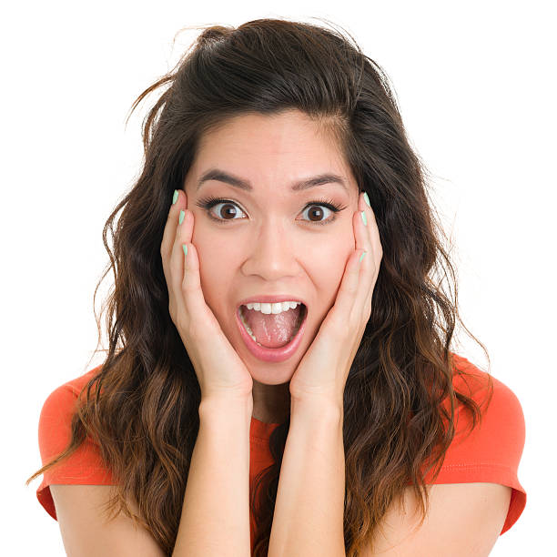 Asian Woman Surprise Face Stock Photos, Pictures & Royalty