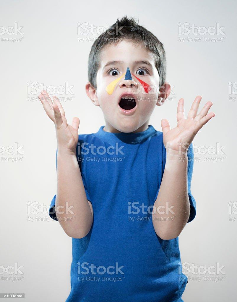 Sorprendido ventilador para niños - foto de stock