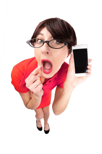 surprised fisheye lady with cell phone - sdominick stock pictures, royalty-free photos & images