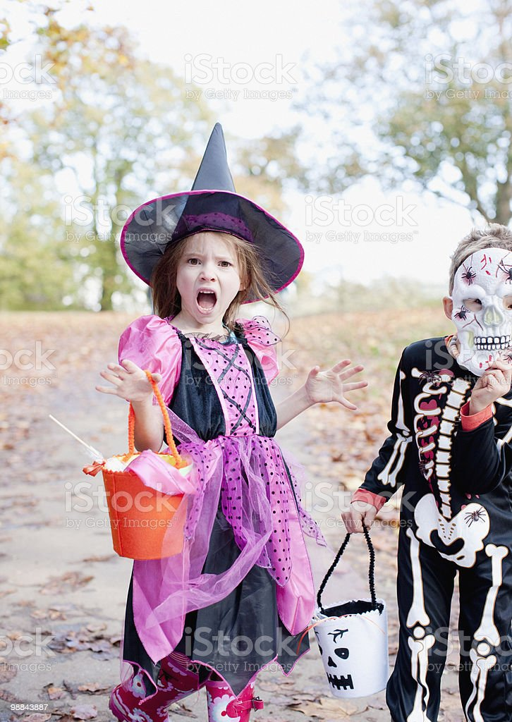 Surprised girl in Halloween costume royalty-free stock photo