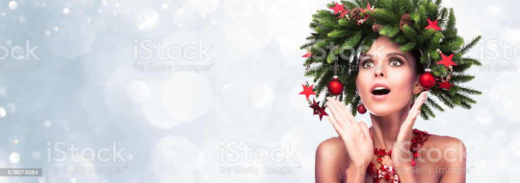 Surprised girl, Shocking look. Presenting your product stock photo