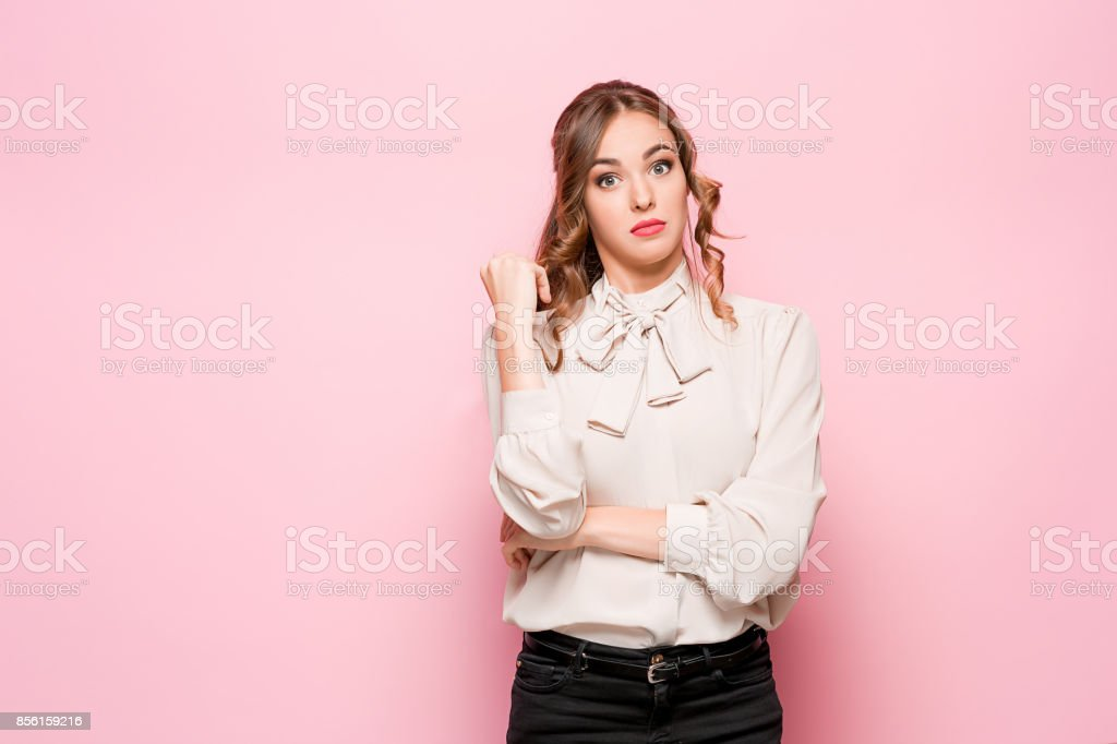 Surprised happy beautiful woman looking in excitement stock photo