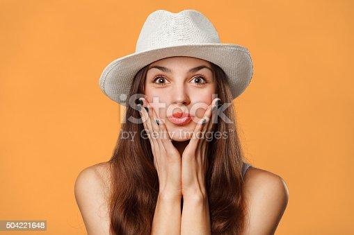 istock Surprised happy beautiful woman looking sideways in excitement. Excited girl 504221648