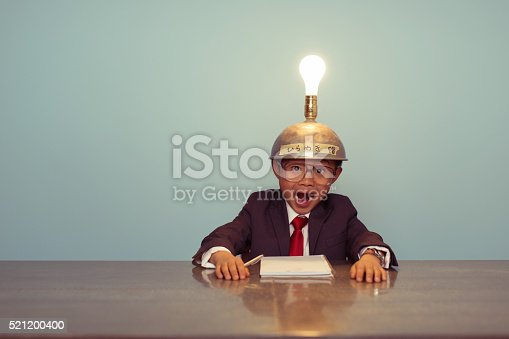 480585411 istock photo Surprised Japanese Business Boy Wearing Lit Up Thinking Cap 521200400