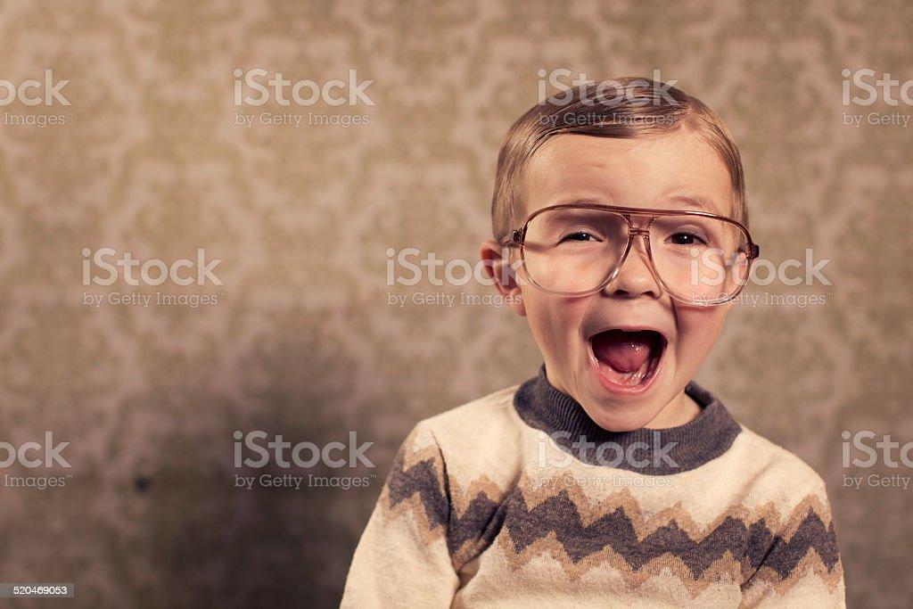 Surprised Little Nerd stock photo