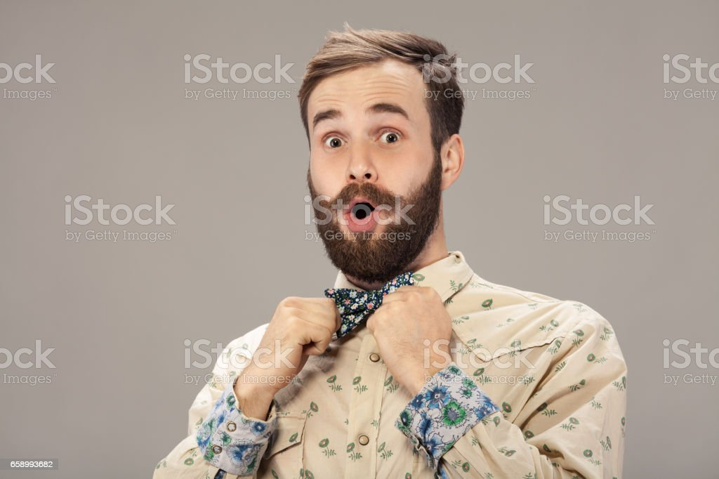 Surprised man with beard and moustache. Shocked face expression, isolated royalty-free stock photo