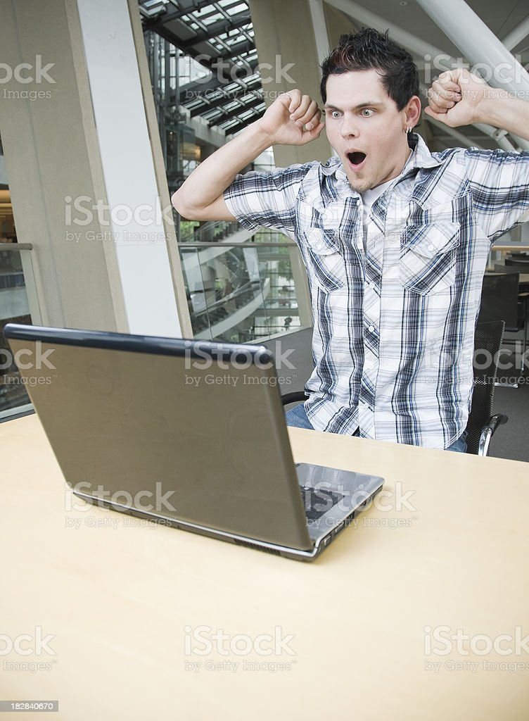 Surprised Man With Good News Online royalty-free stock photo