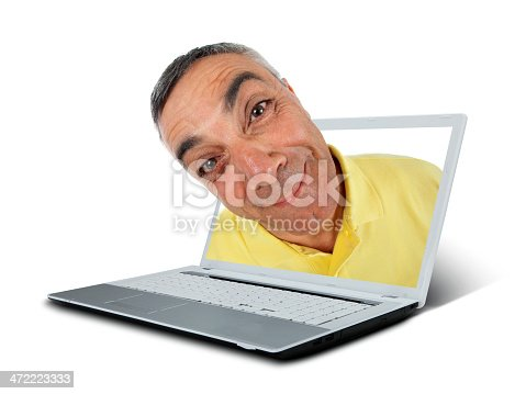 istock Surprised man with notebook and WOW expression. 472223333