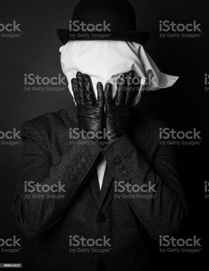 Surprised masked man stock photo