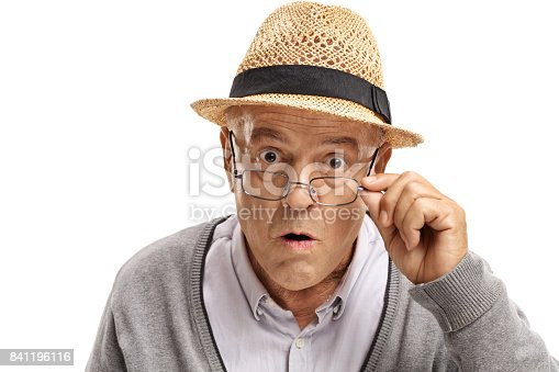 istock Surprised mature man looking at the camera 841196116