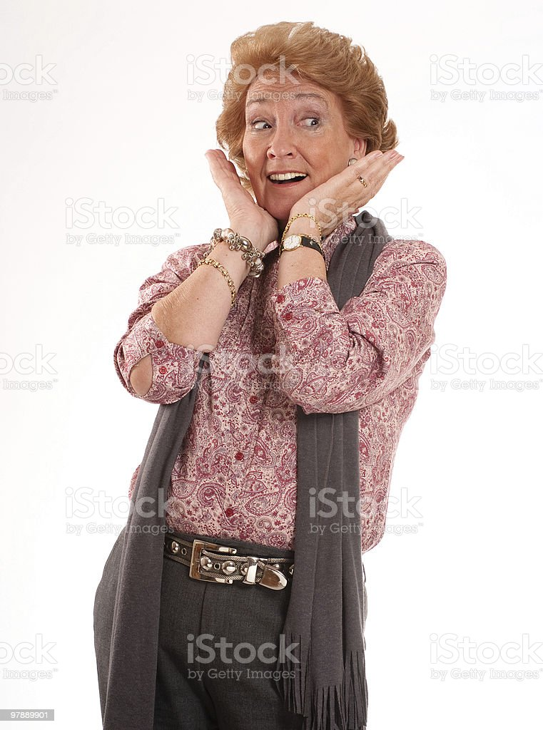 Surprised mature woman royalty-free stock photo
