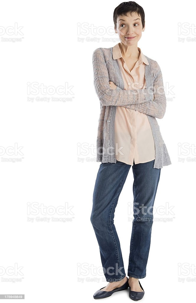Surprised Mature Woman Standing Arms Crossed stock photo