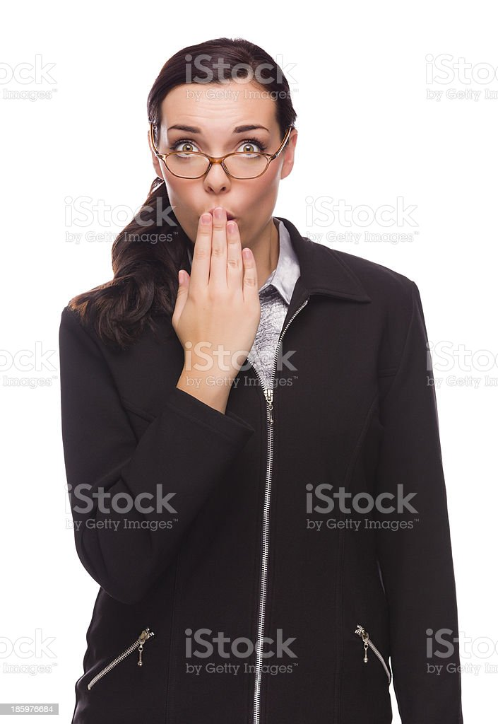Surprised Mixed Race Businesswoman Puts Hand Over Her Lips royalty-free stock photo