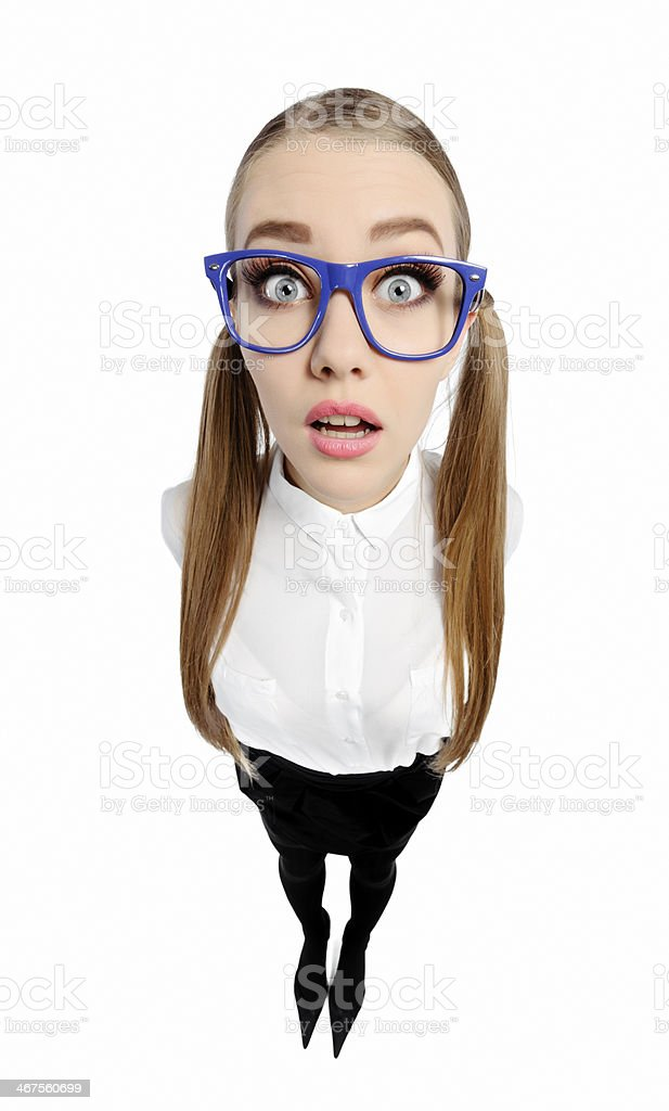 surprised nerd woman royalty-free stock photo