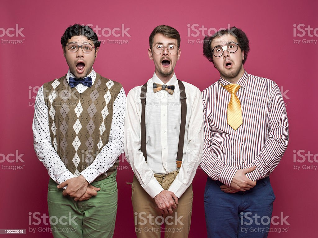 Surprised Nerds stock photo