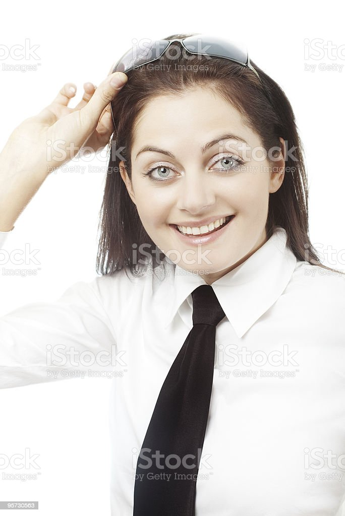 surprised office girl lifting up sunglasses royalty-free stock photo