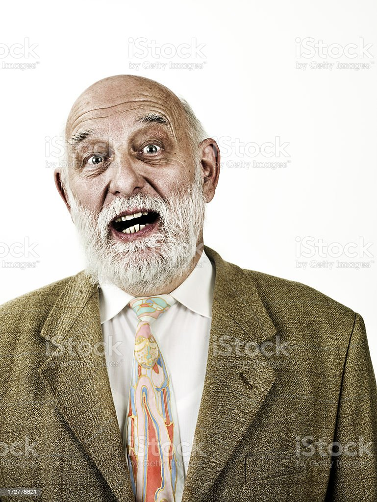 surprised old man stock photo