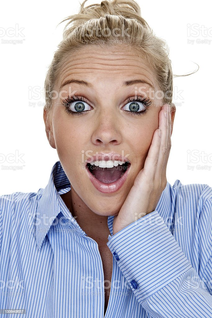 Surprised or happy young woman royalty-free stock photo