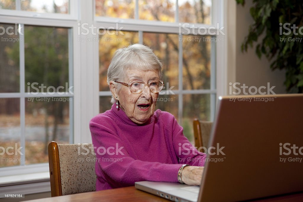 Surprised or Shocked Senior Woman, Grandmother at Computer stock photo