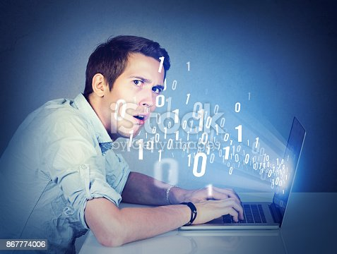 istock Surprised perplexed man with laptop learning computer science 867774006