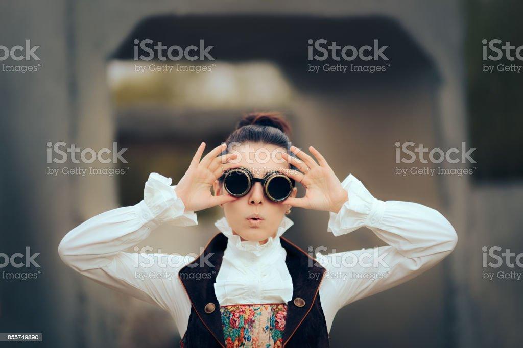 Surprised Sci Fi Retro Futuristic Steampunk Cosplay Woman stock photo