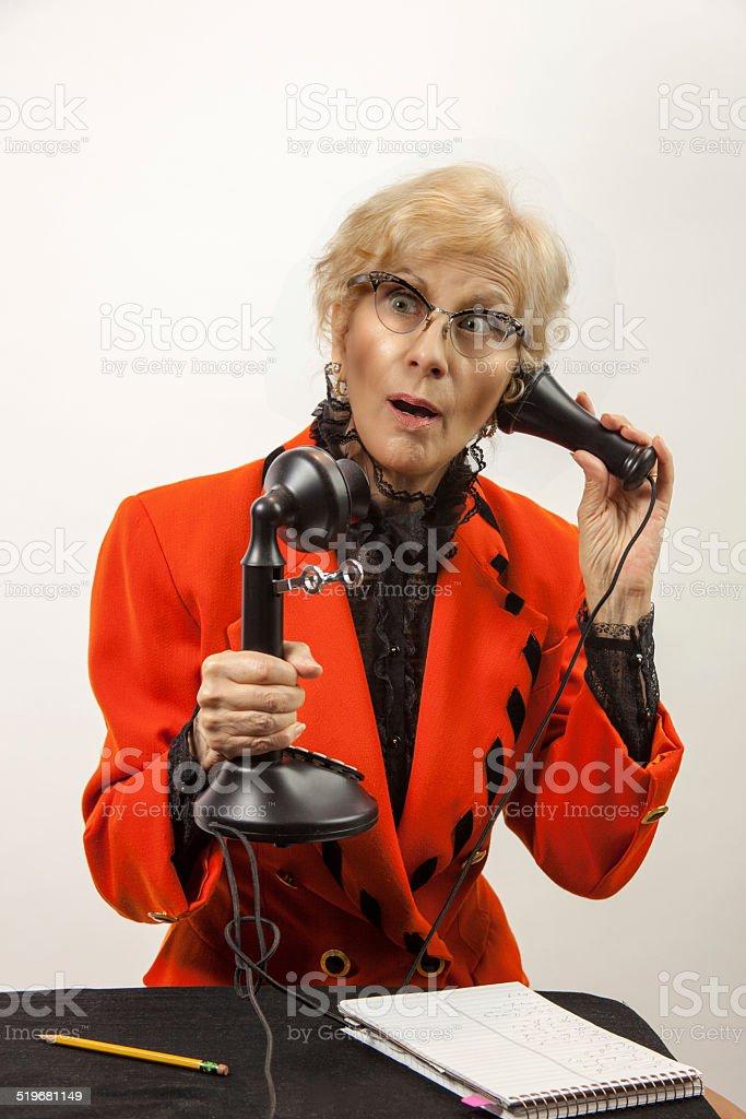 Surprised Secretary On The Phone stock photo