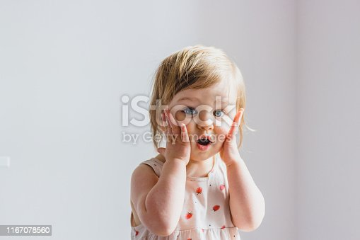 Surprised shocked child toddler girl with hands on her cheeks isolated on light background