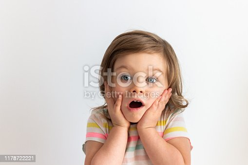 Surprised shocked toddler child with her hands on cheeks and blue eyes wide open. Baby in surprise portrait  against white background