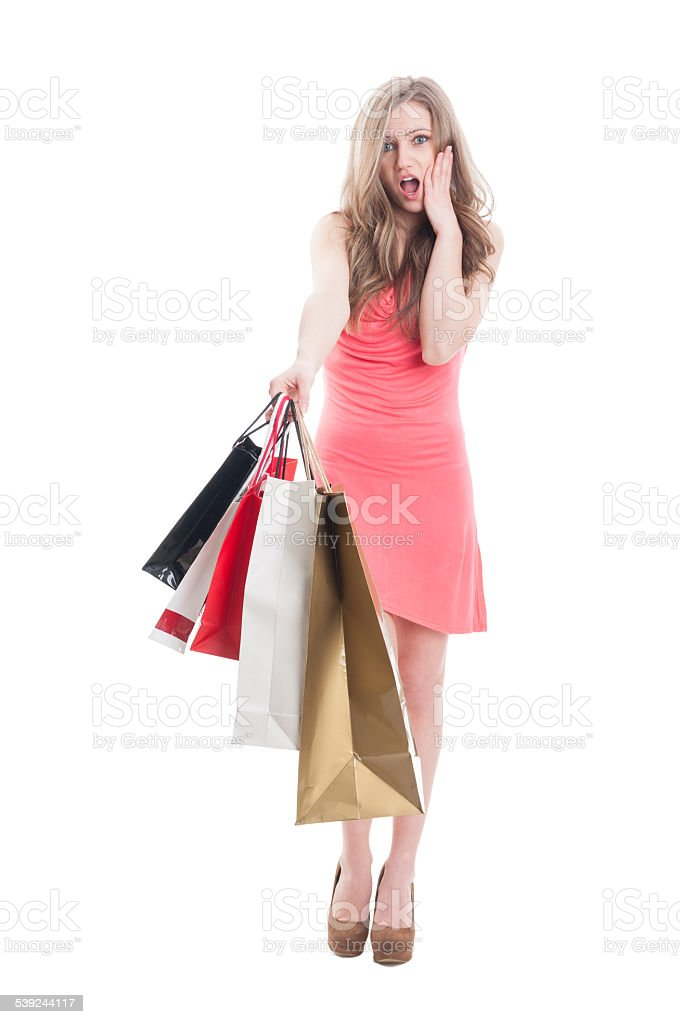 Surprised shopping woman royalty-free stock photo