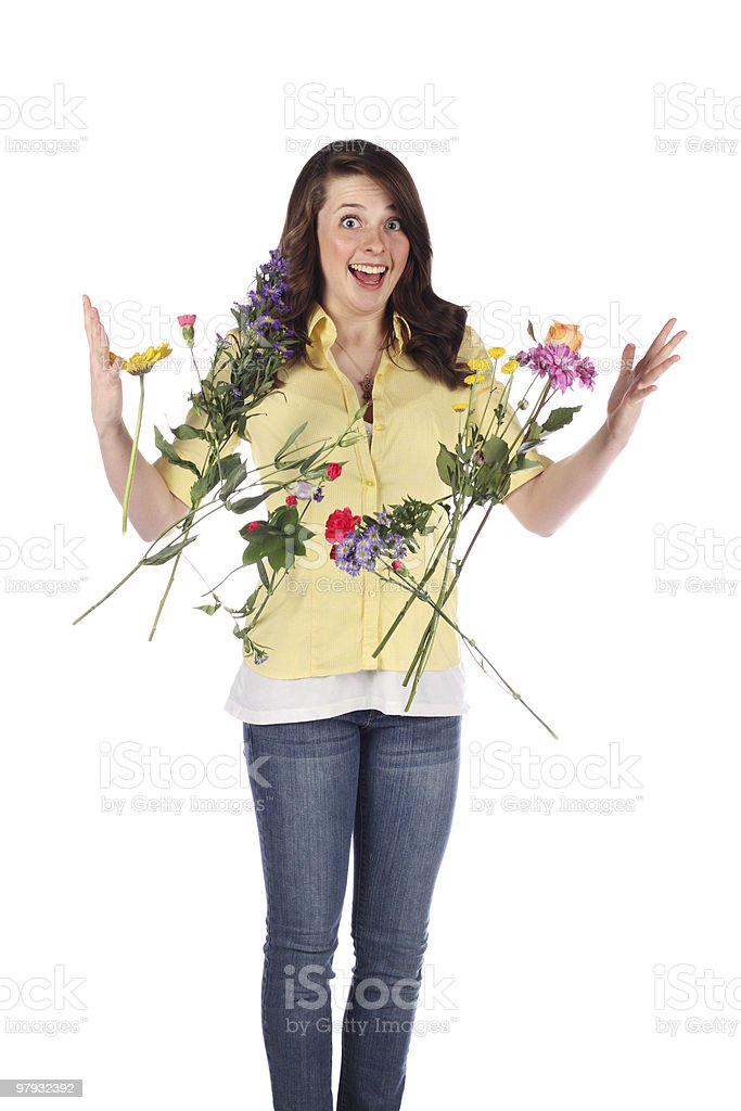 surprised with flowers royalty-free stock photo