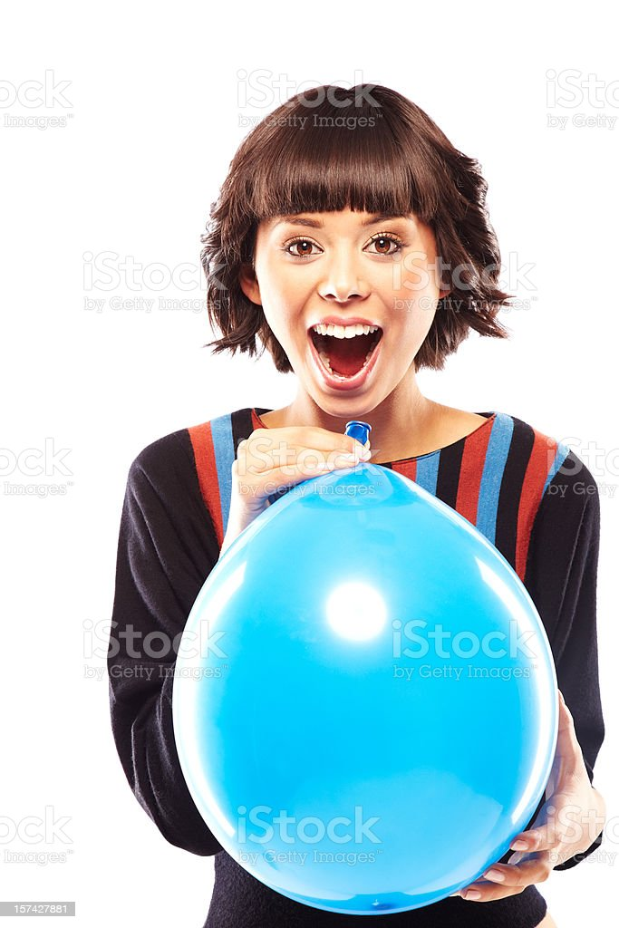 Surprised woman holding a blue balloon royalty-free stock photo