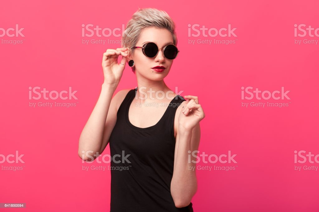 Surprised woman in blue dress stock photo