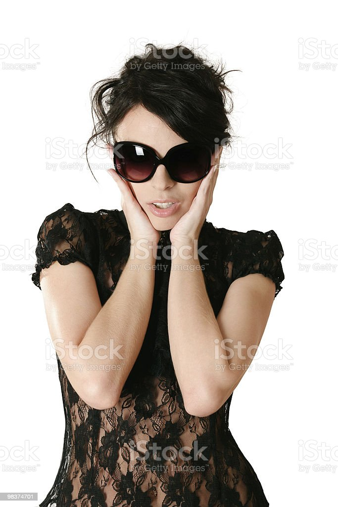 Surprised woman in glasses royalty-free stock photo