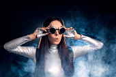 istock Surprised Woman in Silver Costume and Steampunk Glasses 537334914
